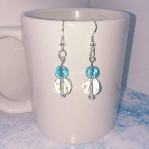 HANDMADE MULTI FACETED GLASS BEADS EARRINGS
